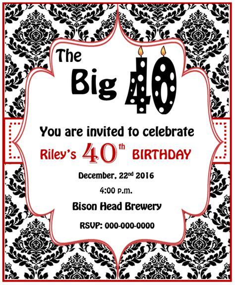 16+ Free 40th Birthday Party Invitation Templates MS