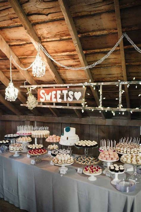 country rustic wedding dessert table ideas
