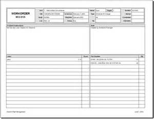 Work Order Form Template Excel 5 Work Order Templates Formats Exles In Word Excel