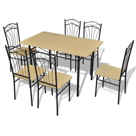 dining table and 6 chairs dining set 1 table with 6 chairs light brown vidaxl com