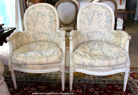 Antique French Bergere Toile Chairs