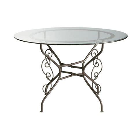 table ronde verre fer forge table ronde de salle 224 manger en verre et fer forg 233 d 120 cm toscane maisons du monde