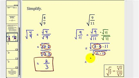 How To Do Simple Radical Form by Simplifying Radical Expressions With Fractions Youtube