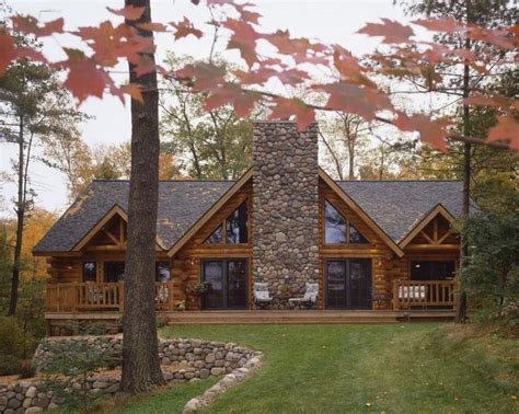 Log Cabin Homes with Stone Chimney