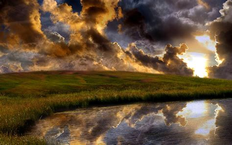 Dark Clouds Field River Sunny Wallpapers Dark Clouds