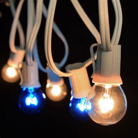 25 commercial blue clear globe light strand white c9 strand