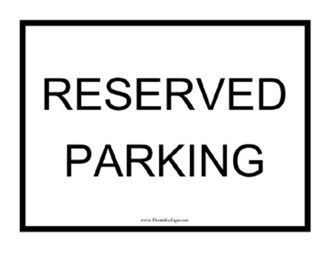 Reserved Parking Signs Template by Printable Reserved Parking Black Sign