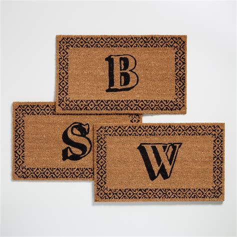 initial doormats monogram coir doormat collection world market
