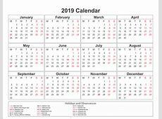 Printable Calendar 2019 with UAE Holidays December 2018