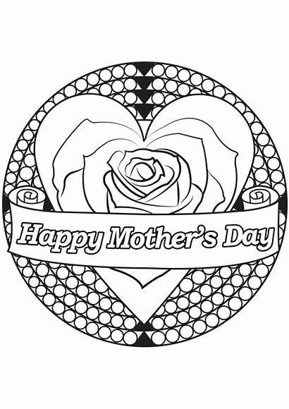 Coloring Mother Heart Mothers Rose Pages Adult