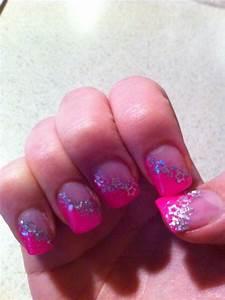 pink and silver glitter acrylic nails   Nail and toenail ...