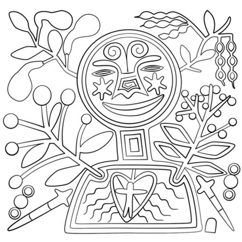 huichol art abstract figure coloring page