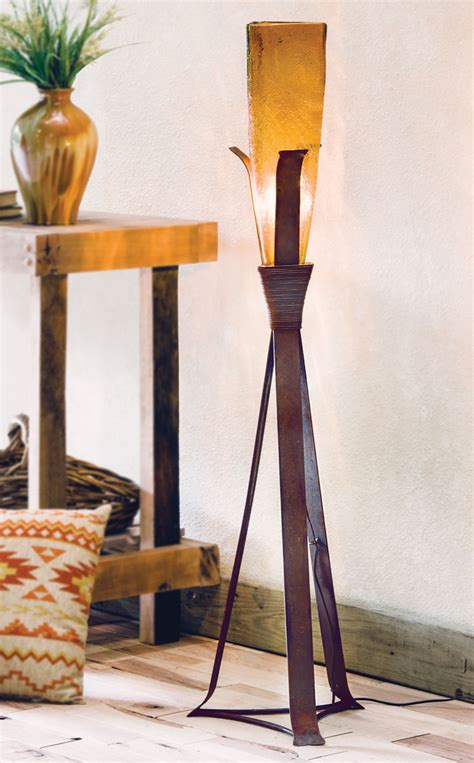 sonora floor lamp  amber glass shade