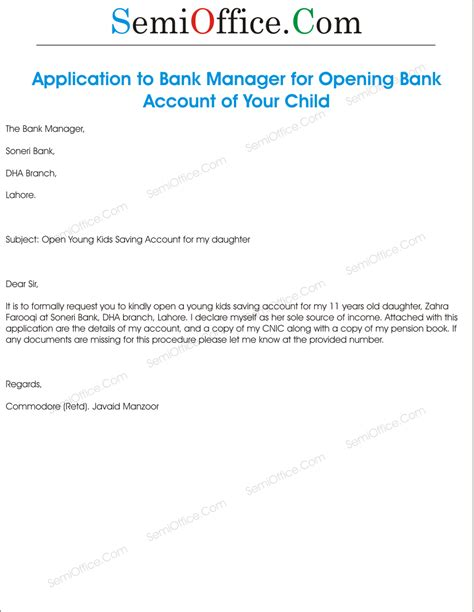 application  bank manager  opening account
