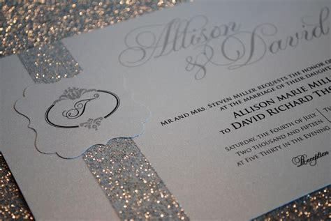sample silver wedding invitation  beautiful glitter