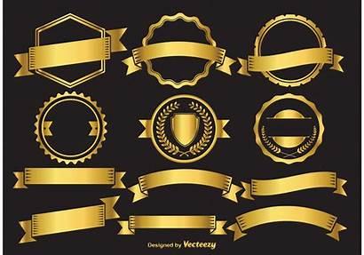 Badge Gold Vector Elements Banner Vecteezy Vectors