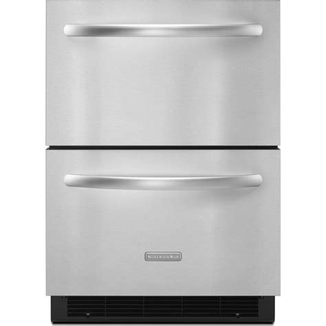 kitchenaid kddcrvs  built  double drawer refrigerator   cu ft capacity max cool