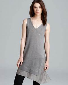 Ralph Sweater Size Chart Eileen Fisher V Neck Sleeveless Tunic In Gray Smoke Lyst