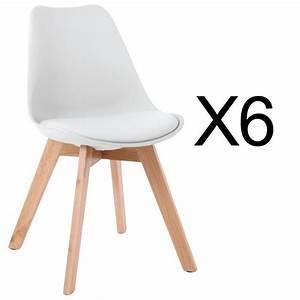 Lot 4 Chaises Scandinaves : lot de 6 chaises style scandinave catherina blanc achat vente chaise blanc cdiscount ~ Teatrodelosmanantiales.com Idées de Décoration