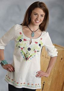 West Loop Size Chart Roper Women 39 S Cream Embroidered Cotton Peasant Blouse