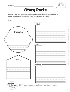 Story Parts (Leveled-Reading G/H): Guided Reading Response