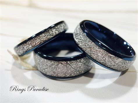 matching wedding bands meteorite inlay rings his and