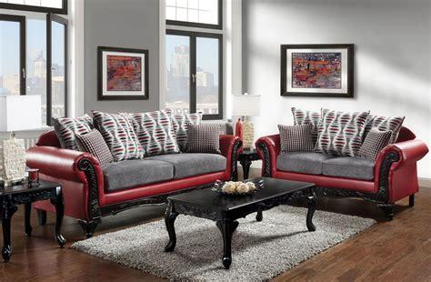 myron red  light gray living room set  furniture