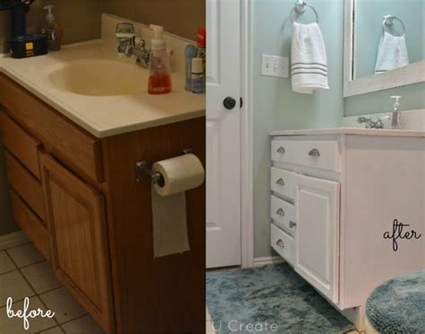 painted bathroom cabinets before and after the creepy bathroom remodel u create