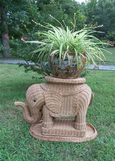 elephant plant stand large plant stand wicker rattan elephant table
