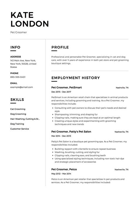 Rã Sumã Template by 12 X Pet Groomer Resume Templates Resumeviking