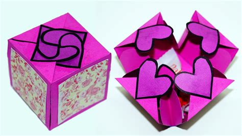 diy paper crafts idea gift box sealed  hearts