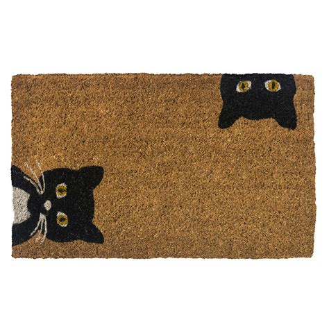 doormat cat entryways peeping cats 30 in x 18 in woven coconut