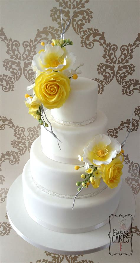 yellow floral wedding cake cakecentralcom