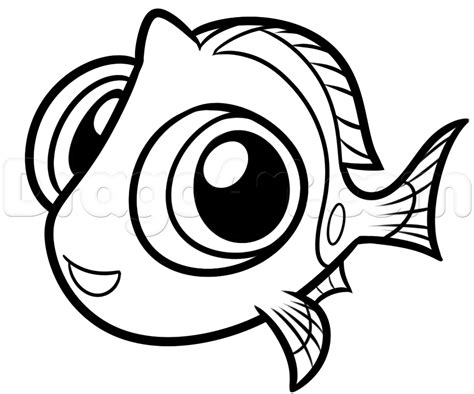 draw baby dory step  step disney characters