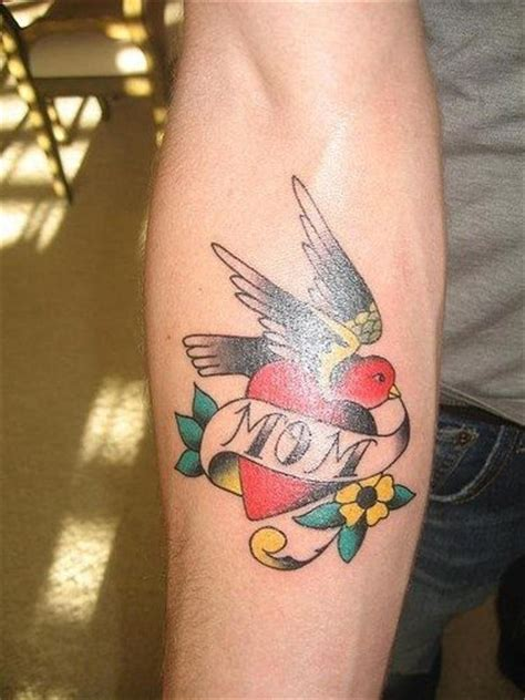 mom banner red heart  sparrow tattoo  forearm