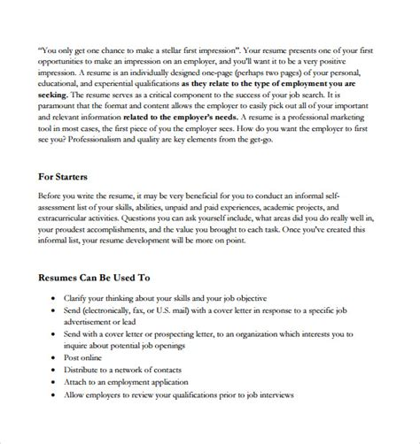 simple resume format in word file download sle resume fax cover sheet 8 documents in word pdf