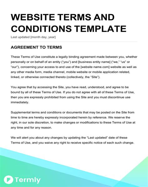terms conditions templates downloadable samples