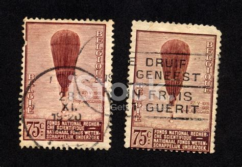 Vintage Belgian Stamps Brown Hot Air Balloons, Stock