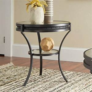 Coaster, Furniture, Round, Glass, Top, End, Table, With, Shelf, Black