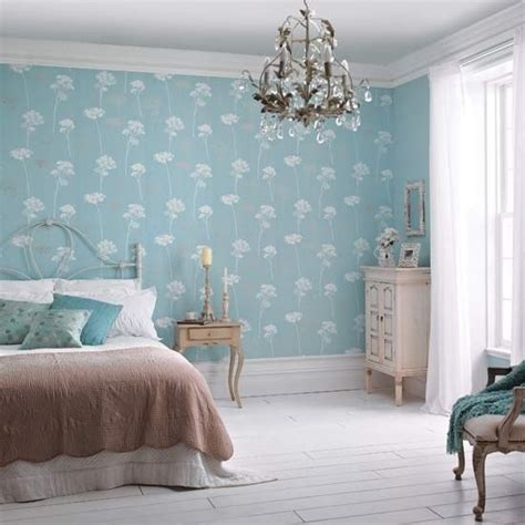 Blue Bedroom Wallpaper by Dulux S Meadowsweet Teal Wallpaper Is The Highlight In
