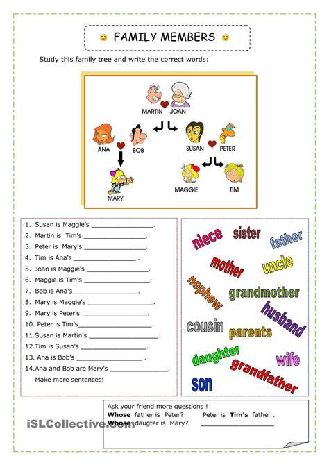 english  kids connect level  family vocabulary worksheet