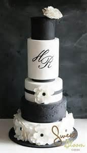 Black and White Monogram Wedding Cake