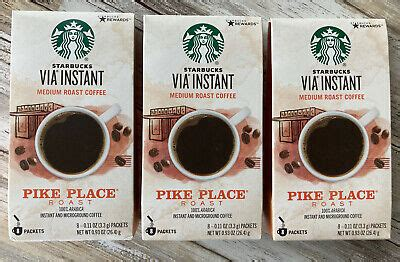Free shipping on many items | browse your favorite brands. Starbucks VIA Instant Pike Place Roast Medium Roast Coffee Packets - 3 BOXES 762111010551 | eBay