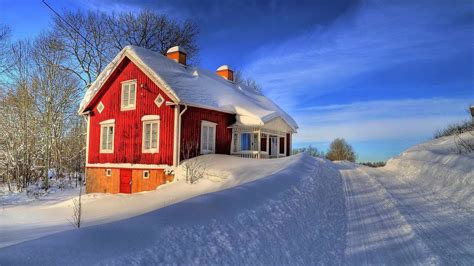 architecture house window snow winter road trees