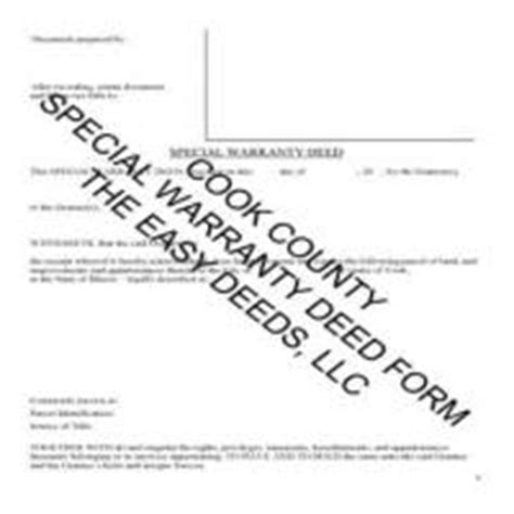 cook county special warranty deed form illinois deeds com
