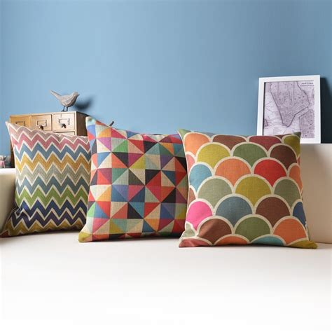 canapé home center geometric cushion decorative pillows colorful cushions