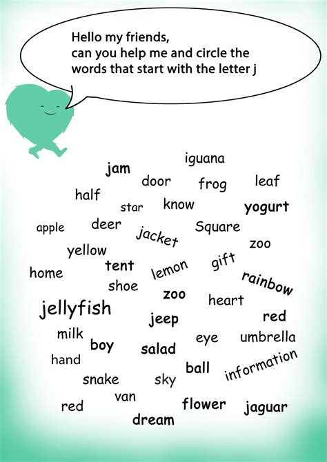 words with the letter j words starting with j words starting with worksheets 31315
