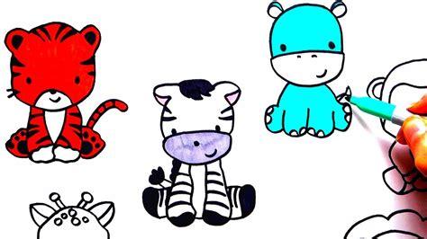 cartoon zoo animal drawings coloring wall