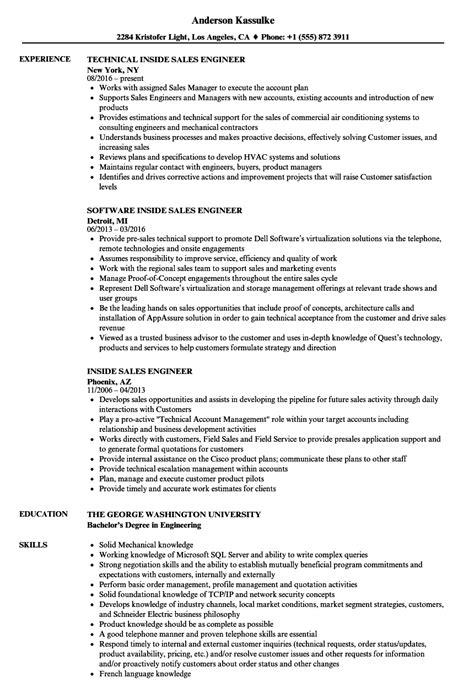Inside Sales Resume by Inside Sales Engineer Resume Sles Velvet