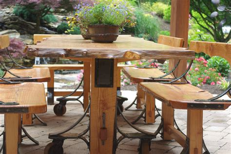 Live Edge Industrial Farmhouse Patio Table W/industrial